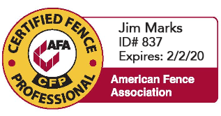 Jim Marks, Valley Custom Fence, American Fence Association,Certified Fence Professional,Wisconsin,Fox Valley fence contractors